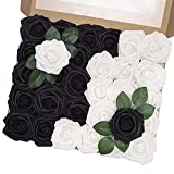 MACTING Artificial Flower Rose, 30pcs Real Touch Fake Foam Roses for DIY Bouquets Wedding Party Baby Shower Home Decoration, 15pcs Black 15pcs White