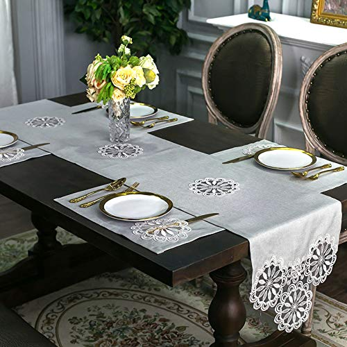Modern And Simple Lace Solid Color Hook Flower Table Runner Tv Cabinet Cover Cloth Table Cloth Long Decorative Towel Tea Table Cloth 38x180cm