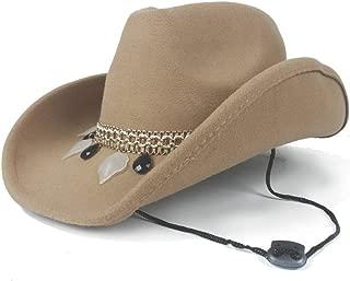 PANFU-AU Pop Fedora Hat Wide Brim Hat Outdoor Casual Hat Men Women Wool Western Cowboy Hat Size 56-58CM (Color : Khaki, Size : 56-58)