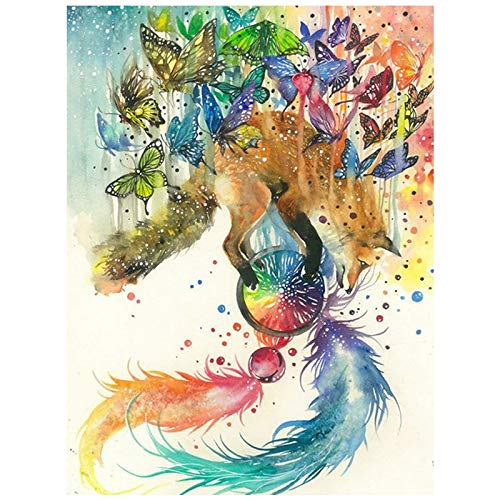 5D DIY Diamond Painting Fox Animal Abstract Butterfly Feathers Cross Stitch Full Diamond Embroidery New Year Decoration
