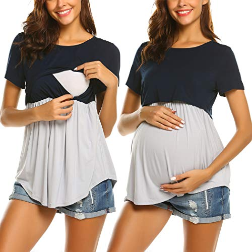Product Image of the Ekouaer Maternity Nursing Tops for Women Short Sleeve Loose Style Pregnancy...
