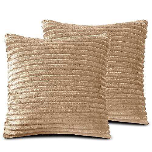 FARFALLAROSSA Örngott av mikrofiber med dragkedja, ljusbrun (2-pack) 50 x 50 cm, fyrkantiga örngott för soffkuddar, lämpliga för alla årstider, enfärgade