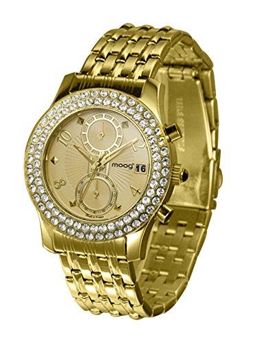 Moog Paris Heritage Reloj para Mujer con Esfera Champagne, Correa Dorada de Acero Inoxidable y Cristales Swarovski - M45554-004
