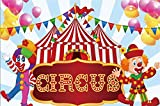 Laeacco Cartoon Circus Theme Backdrop 7x5ft Vinyl Circus Text Board Clowns Tents Colorful Buntings Pink Yellow Balloons Blue Radial Stripes Background Baby Birthday Party Banner Child Baby Shoot