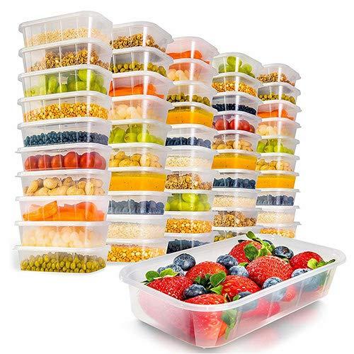 Contenant alimentaire Storite avec couvercles 50 x récipients en plastique rectangulaires de 1000 ml allant au micro-ondes pour la congélation d'aliments chauds et froids sans BPA