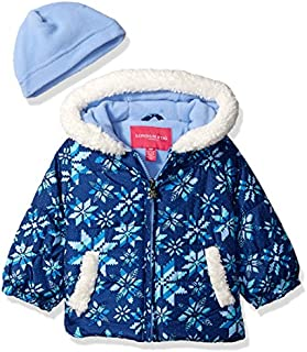 London Fog Baby Girls Puffer Jacket with Scarf & Hat