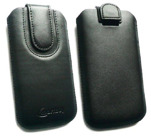 Emartbuy® Schwarz / Schwarz PU Leder Slide in Hülle Tasche sleeve Halter ( Größe 3XL ) Mit Zuglasche Mechanismus Geeignet Für Slok D1 Dual Sim Smartphone
