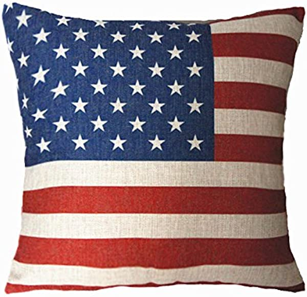 MoonRest Cotton Linen Decorative Throw Pillow Fully Assembled American Flag