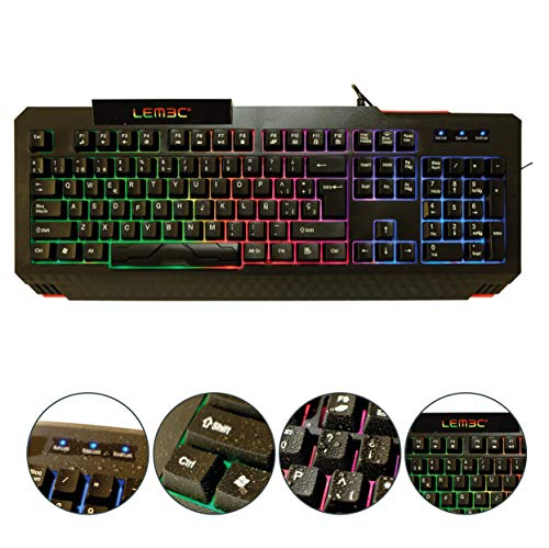 LEMEC. Gaming X-Thunder Teclado PC Juego. Waterproof