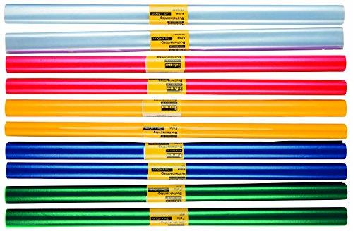 10 Rollen Bucheinbandfolie/Buchfolie / 2m x 40cm / 5 verschiedene Farben