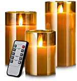LED Flameless Candles Flackern mit Fernbedienung und Timer, 4in 5in 6in, 3er-Set, batteriebetriebene elektrische Kerzen mit beweglichen Wick Dancing Flames, echte Wachssäulenkerzen mit Glasschale