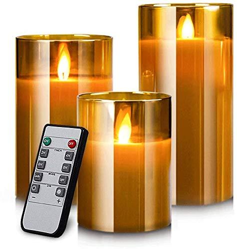 YMing Bougies sans flamme, Flamme vacillante réaliste, véritables bougies pilier de cire en verre doré, télécommande avec fonction minuterie, taille 10 cm/12,5 cm/15 cm de hauteur, 7,5 cm de diamètre