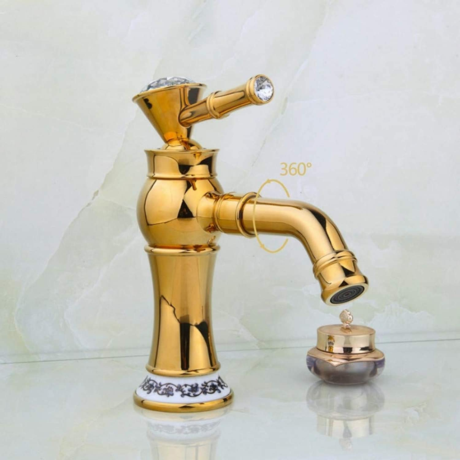 Lddpl Luxury golden Polish Bathroom Basin Sink Mixer Tap Faucet Diamond Handle Mixer redated Spout Faucet Water Mixer Tap