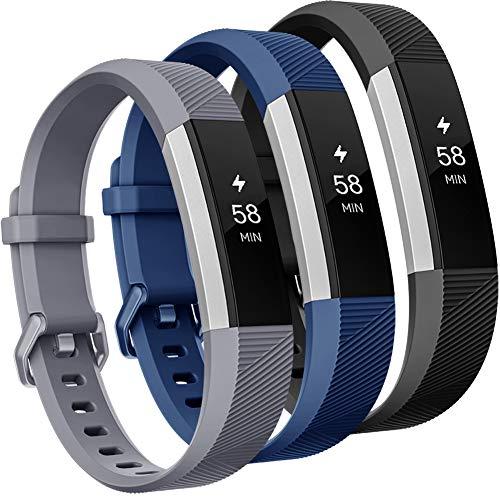 Onedream Compatible pour Fitbit Alta HR Bracelet/Alta Bracelets Femme Homme Remplacement Sport Noir Bleu Gris (Pas de Tracker),L
