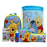 simpahome Winnie the Pooh 7PC Back to School Bundle - inc 3D Backpack, Drawstring Sports Bag, 3D Insulated Lunch Bag, Water Bottle, Coin Pouch, Pencil Case & Stationery Set.