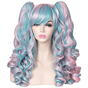 ColorGround Long Curly Cosplay Wig with 2 Ponytails Pink/Blue