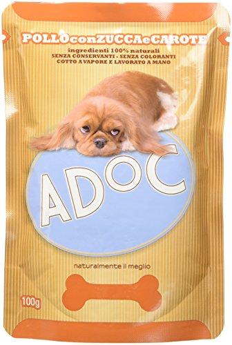 Adoc - Cibo Umido per Cani Adulti con Ingredienti Naturali Pollo, Zucca e Carote - 20 bustine da 100gr