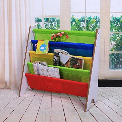 GOTOTOP Muebles para Niños Librería Estantería Infantil Estante de Almacenamiento de Juguetes Multicolor Estantería de Madera con Bolsillo (Marco Blanco+Bolsillo Multicolor)