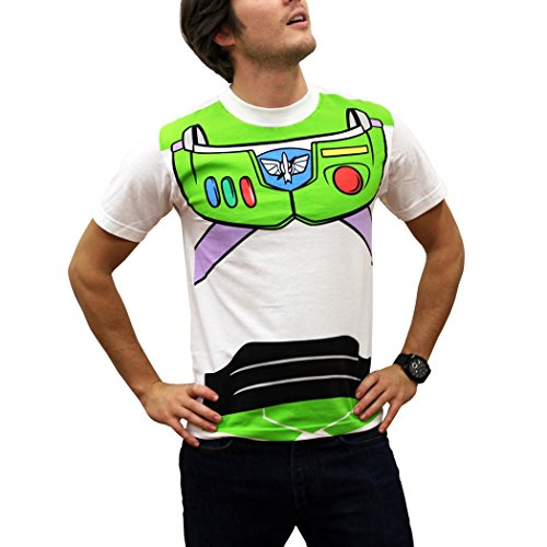 Toy Story Buzz Lightyear and Woody Costume T-Shirt (Buzz, White, X-large)