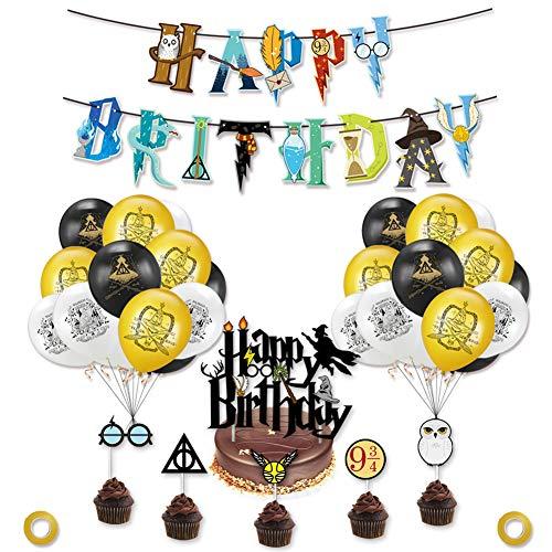 YUIP Suministros Cumpleaños Decoracion, Kit de Decoraciones de Cumpleaños de Harry Potter, Decoracion de Fiesta Mago, Globos de Látex de Harry Potter Pancarta de Fiesta, Estandarte de Cumpleaños