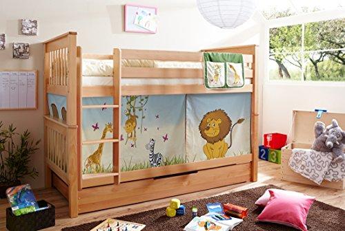 Etagenbett Doppelbett Stockbett Sammy teilbar Buche massiv Natur mit Farbwahl, Vorhangstoff:Safari