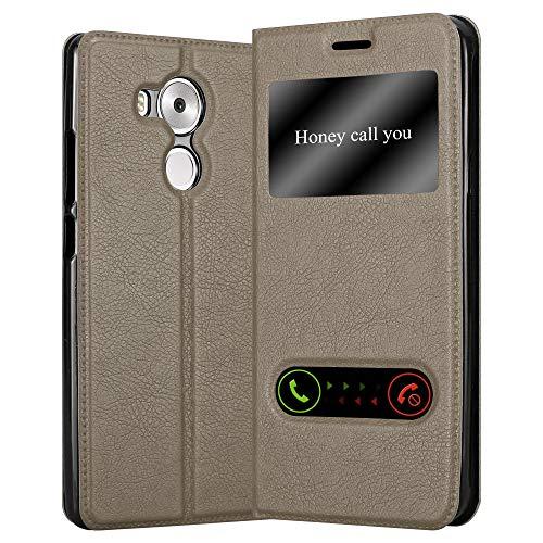 Cadorabo Hülle für Huawei Mate 8 - Hülle in Stein BRAUN – Handyhülle mit Standfunktion und 2 Sichtfenstern - Case Cover Schutzhülle Etui Tasche Book Klapp Style