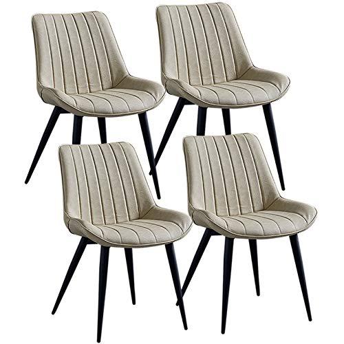ZCXBHD Juego de 4 sillas modernas de comedor, patas de metal resistente, silla de oficina de piel sintética, asiento suave, acolchado, comedor, dormitorio, hogar, oficina, (color: blanco crema)