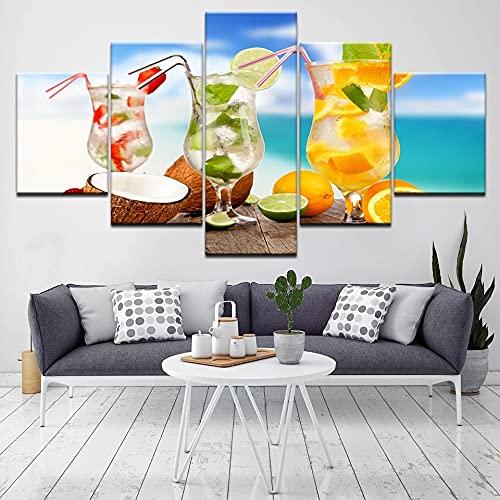 JINGMEI Fresh Colors Módulo De 5 Piezas Cuadro De Arte De Pared Paisajes Copa De Bebida De Fruta Cubo De Hielo Decoración del Hogar Moderna Sala De Estar Dormitorio Oficina Adornos Decorativos