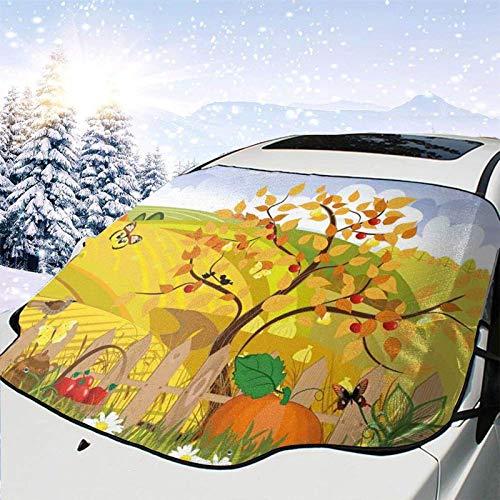 FETEAM Visera de sombrilla automática para Parabrisas Delantero Impermeable Escena Rural con Mariposas, pájaros y Margaritas en el Campo Concepto de guardería Infantil Protector protección