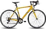 Hiland 700c Rennrad Stahl City Commuter Fahrrad mit Shimano 14 Gänge Geschwindigkeiten Gelb