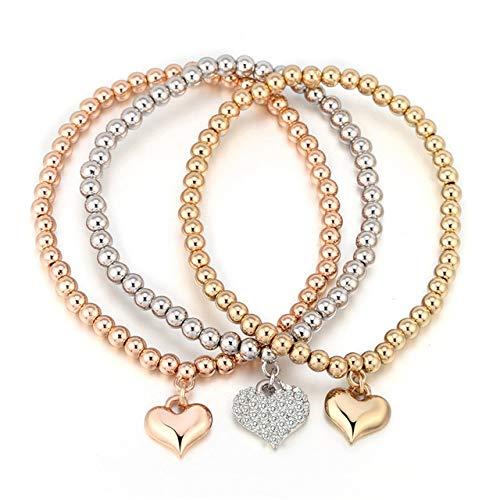 BRTTHYE Bedelarmbanden en armbanden met hartjes, goud/zilverkleurig, met parels