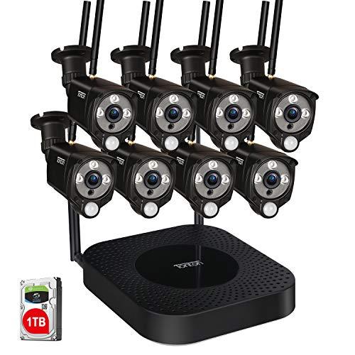 Tonton Full HD 1080P Outdoor Funk Überwachungskamera Set mit 8 WLAN Wireless Überwachungskamera 30M Nachtsicht Bewegungserkennung mit Fernzugriff App Hausalarmanlagen mit Bewegungserkennung 1TB HDD