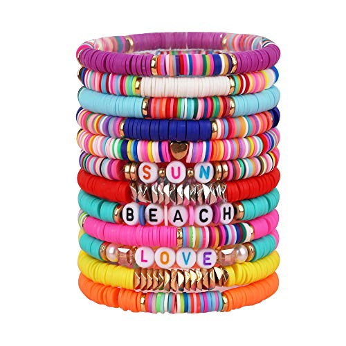 Heishi Surfer Bracelets Set - 7 or 12pc Rainbow Bead Bracelet, African Vinyl Disc 6mm Beads Polymer Clay Elastic Rope Bracelet, Summer Beach Jewelry for Women Girls (12pc heishi bracelet set A)