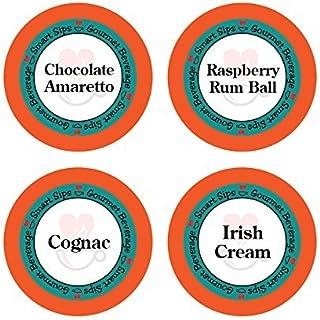 Smart Sips, Liquor Lovers Flavored Coffee Variety Sampler- Raspberry Rum Ball, Cognac, Irish Cream, Chocolate Amaretto, 24...