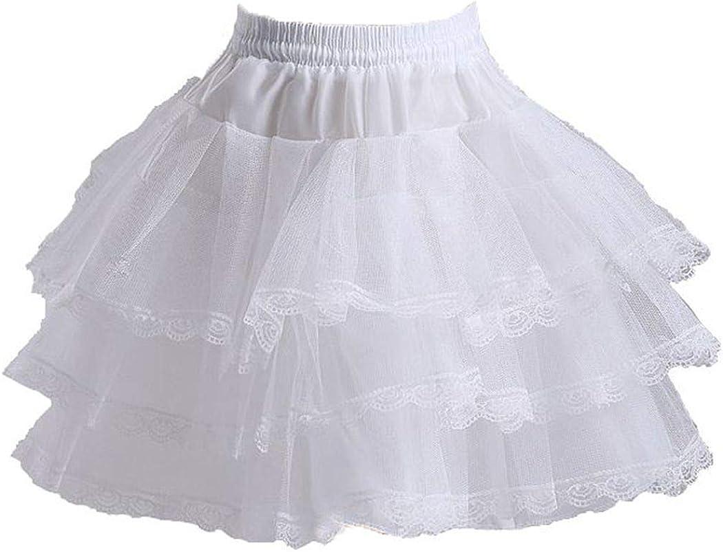 Snowskite Womens Puffy Mini 3 Layers Short Ballet Dress Petticoat Slip White