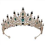 XINTE Hochzeits-Haarschmuck für Frauen Hochzeit Krone Prinzessin Tiara Kostüm Party Zubehör für Brithday Halloween Babyshower (grüne Diamanten)
