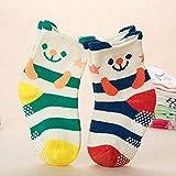 FancyswES8eety 2 pares de calcetines para bebés 8-36 meses Calcetines tobilleros para niñas pequeñas Calcetines de algodón de dibujos animados antideslizantes