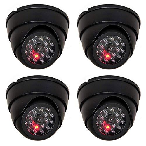 4 cámaras domo con cámara de acero IR falsa con objetivo y vídeo de vigilancia intermitente