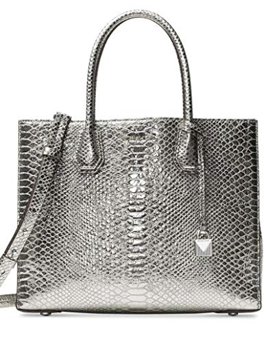 """Pewter Snake Embossed leather. Open- top. Exterior : Silver tone hardware, logo & hanging lock charm. Interior : 1 zip pocket and 1 center zip compartment with polyester lining. 5.5""""L double handles; 15.75""""L to 18.25""""L adjustable shoulder strap ; 12...."""