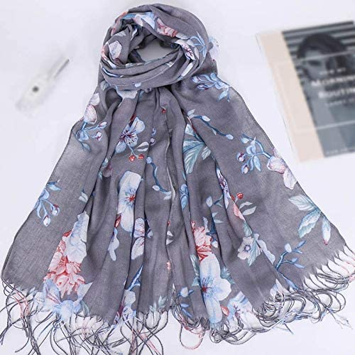 Scarves Fashion Tassel Long Print Woman Scarf Thin Summer Shawls and Wraps Flowers Scarves for Ladies Bandana Shawl Stole Scarf (Color : E)
