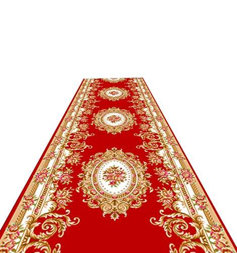 ditan XIAWU Schneidbarer Läuferteppich Schlafzimmer rutschfest Wohnzimmer Eingang Zuhause (Color : Red, Size : 90x200cm)