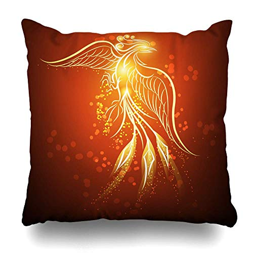 Egoa Throw Pillow Covers Decoración Rising Hot Phoenix Concept contra Adornado Rojo Oscuro Animales Signos De Vida Silvestre Símbolos De Fuego Sofá Hospital Librería Tienda De Almohada