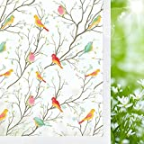 Coavas Window Privacy Film Frosted Glass Non-Adhesive Window Cling for Privacy Anti UV Static Decorative Cling for Home Bathroom Shower Kitchen Rental Room Office Birds 17.5 x 78.7 Inches