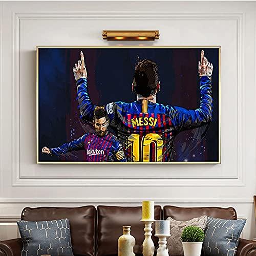WQHLSH Mundo Fútbol Star Messi Poster Lienzo Pintura Imprimir Cuadros Art Wall Decoración Mural Moderno Home Sala de Estar Decoración 24x36inchx1 Sin Marco