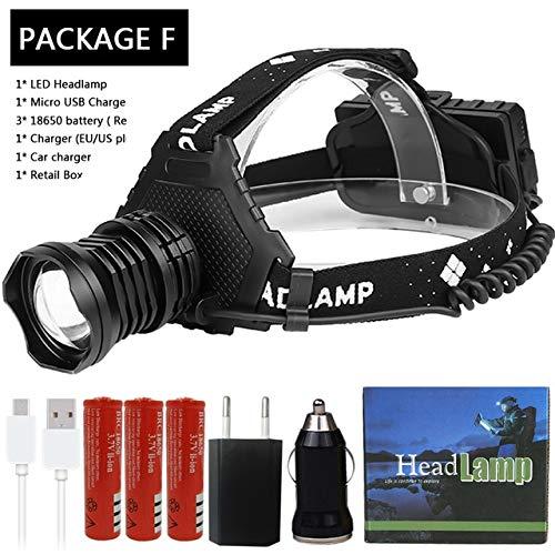 Z15 2064 XHP90 Led phare lampe frontale la plus puissante 32W 8000lm lampe frontale zoom puissance banque 7800mAh 18650 batterie Paquet F