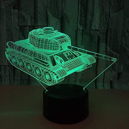 Lievevt Lámpara Escritorio Tanque LED gradiente Colorido 3D lámpara de Mesa Tridimensional táctil Remoto USB luz de Noche Escritorio Junto a la Cama decoración Creativa Adornos de Regalo