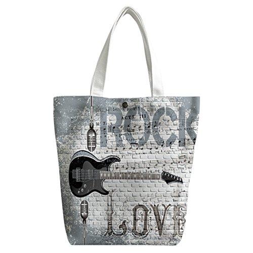 Violetpos activas Canvas bolso bandolera escolar Lunch–Bolsa de la compra gris pared amor Rocas Micrófono Guitarra