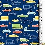 Jersey Stoffe Autos Schilder blau 0,50m x VB