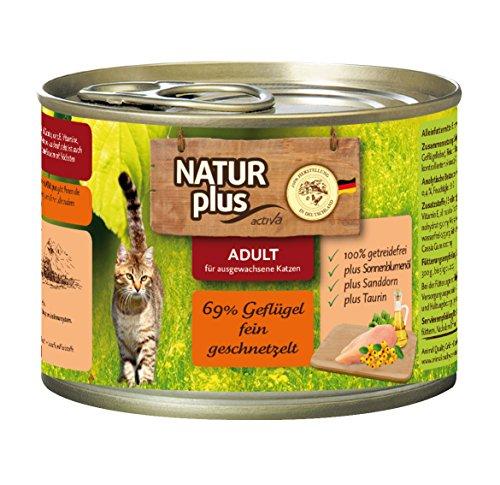 NATUR plus Katzenfutter ADULT mit 69% Geflügel fein geschnetzelt (getreidefrei) - 6 x 200 g