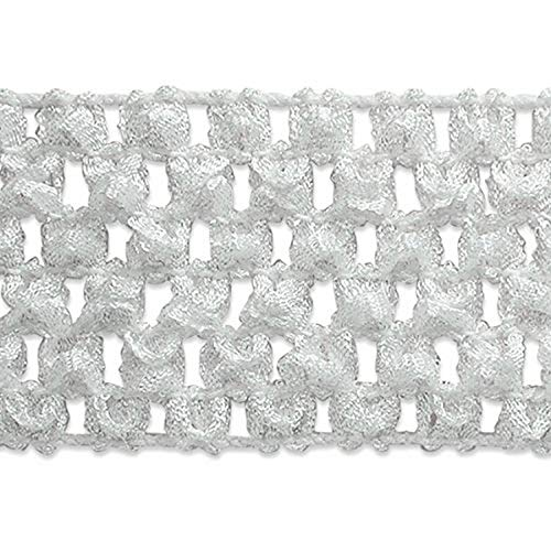 Expo International 1-3/4-Inch Crochet Stretch Trim Embellishment, 20-Yard, White